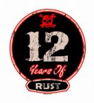 Distressed Aged 12 Years Of Rust Motif For Retro Rat Look VW etc. External Vinyl Car Sticker 100x90mm